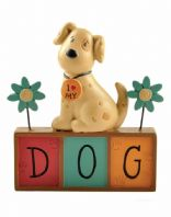 Cute I Love My Dog And Flowers Pot Ornament Gift Keepsake